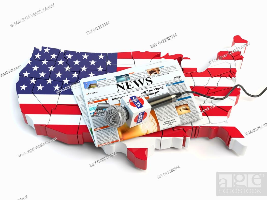 Imagen: News of USA, press and journalism concept. Microphone and newspaper on the map in colors of the flag of USA. 3d illustration.