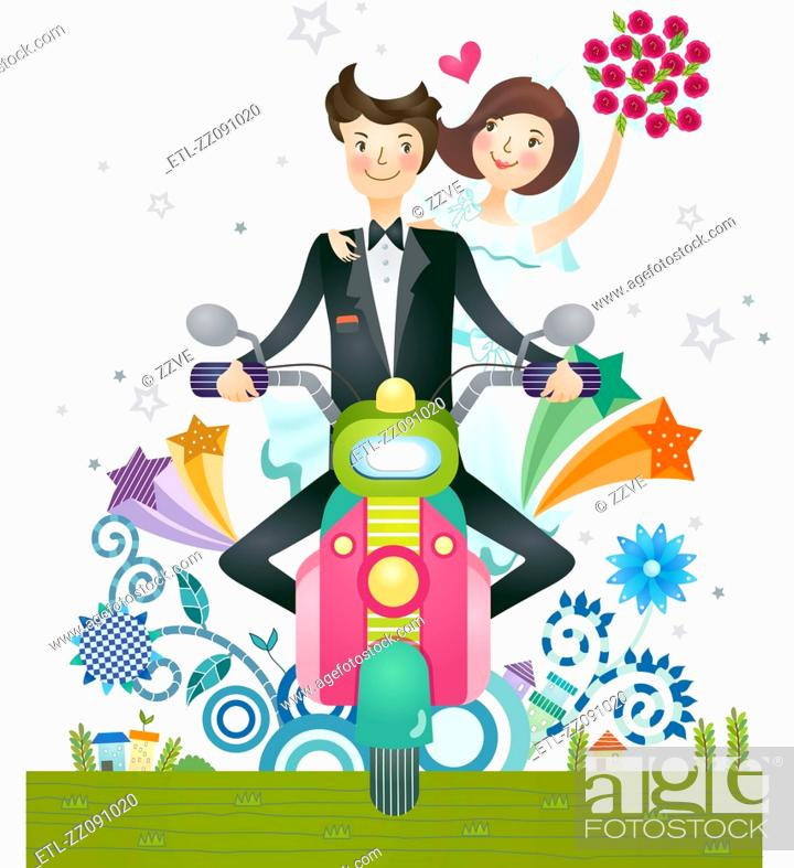 Stock Photo: Bride and groom on scooter.
