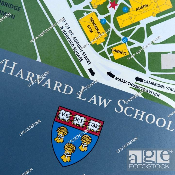 Harvard Law School sign at Harvard University in Boston ...