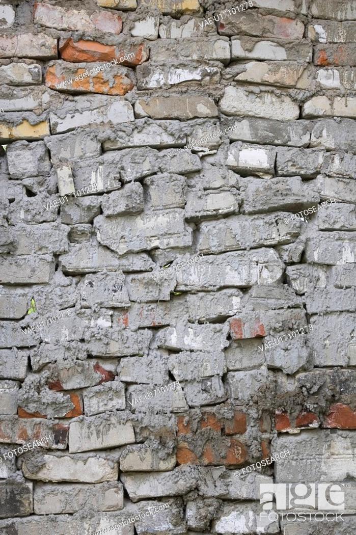 Stock Photo: Brick Wall, Cement, Day, Erect, Masonry.