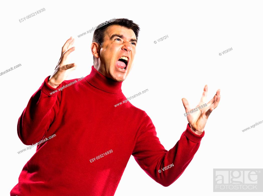 Stock Photo: caucasian man anger gesture studio portrait on isolated white backgound.