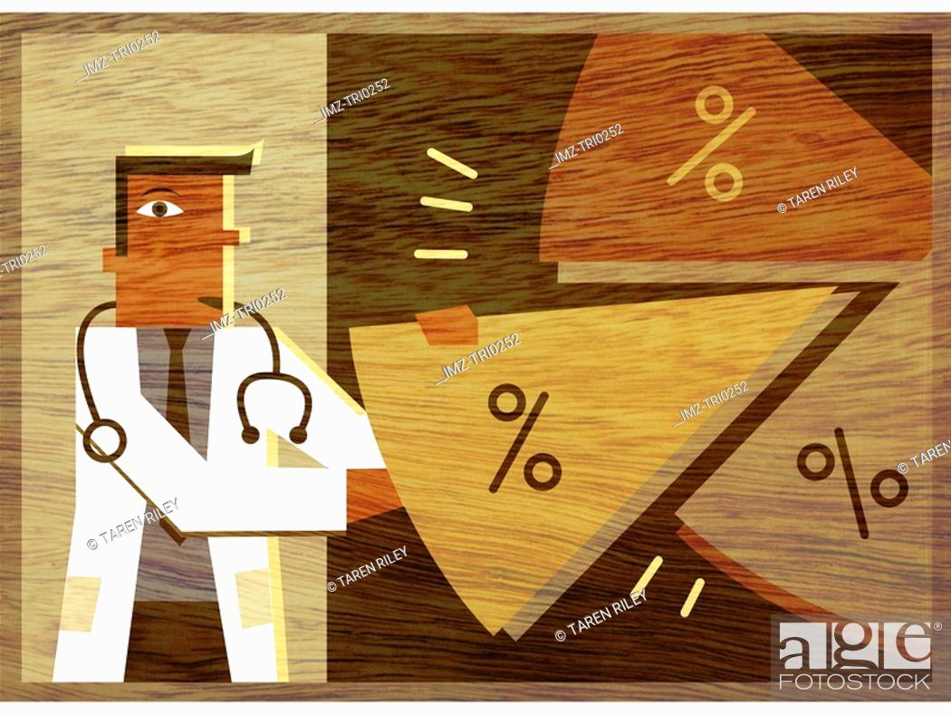 Stock Photo: A doctor taking a piece of a pie chart.
