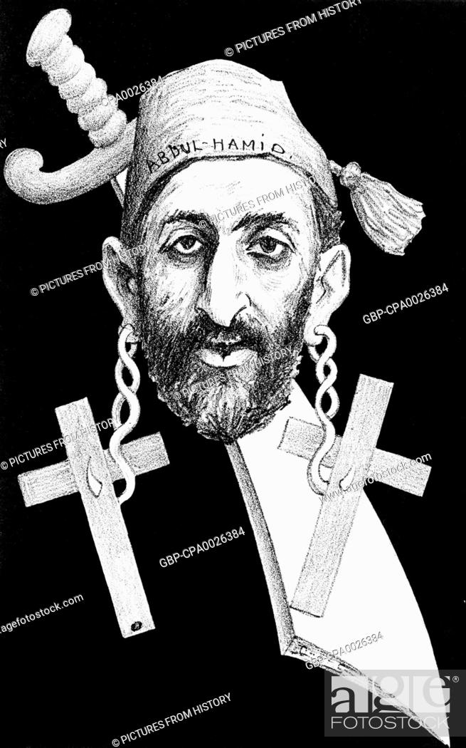 Stock Photo: Turkey: Abdul Hamid II (r. 1876-1909), 34th Sultan of the Ottoman Empire, represented with a scimitar and wearing pierced crucifix earings in indication of.