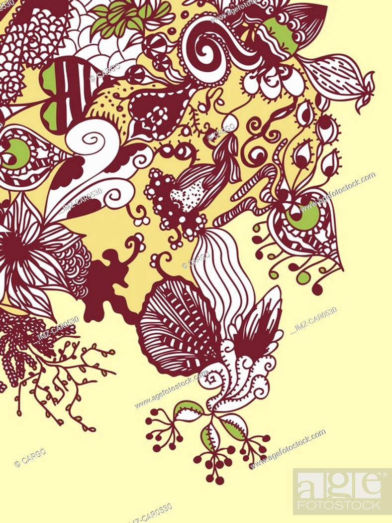 Stock Photo: A whimsical brown, green and yellow floral background.
