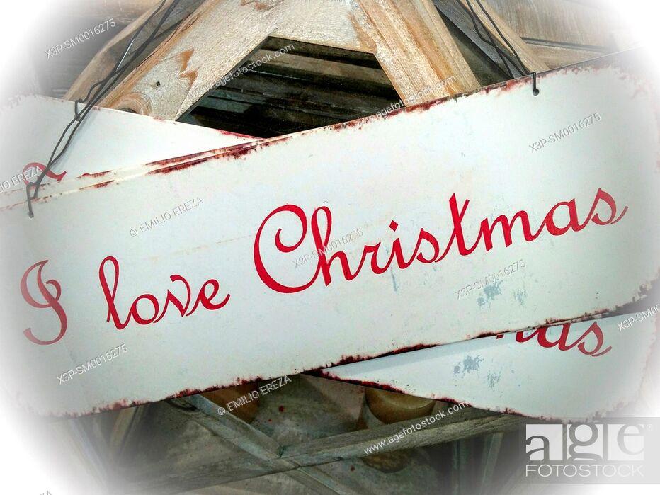 Stock Photo: I love Christmas sign.