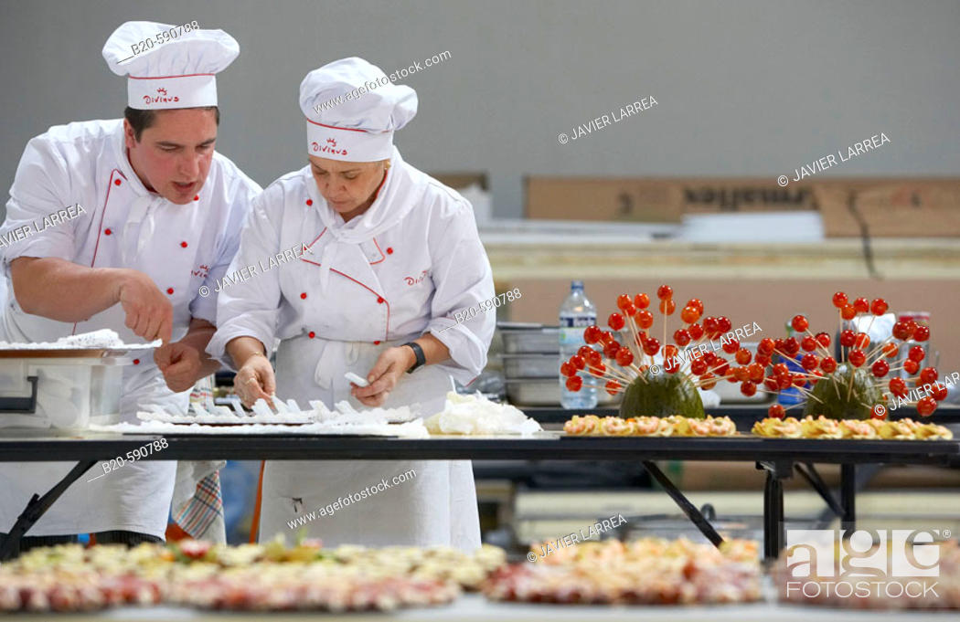 Stock Photo: Preparing canapes, Divinus Catering, San Sebastian, Donostia, Gipuzkoa, Basque Country.
