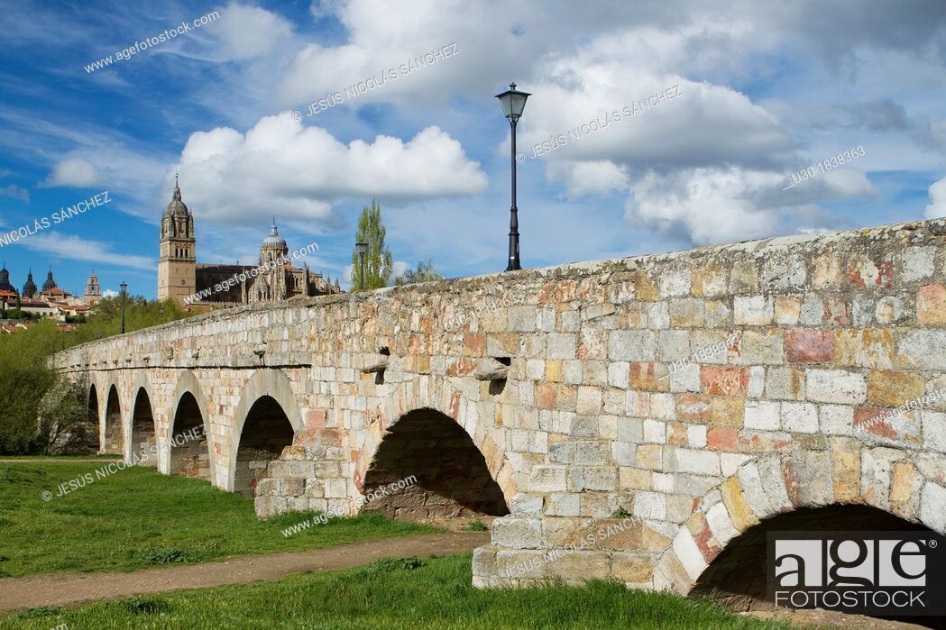 Stock Photo: Overview of the cathedrals of Salamanca from Roman Bridge over the Tormes river  Salamanca  Castilla y Leon  Spain.