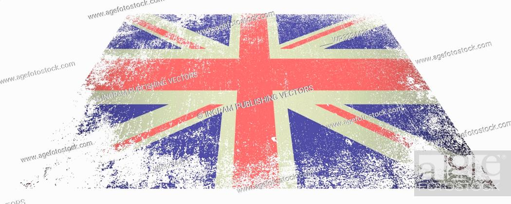 Vector: Red white and blue british flag laying flat on white background.