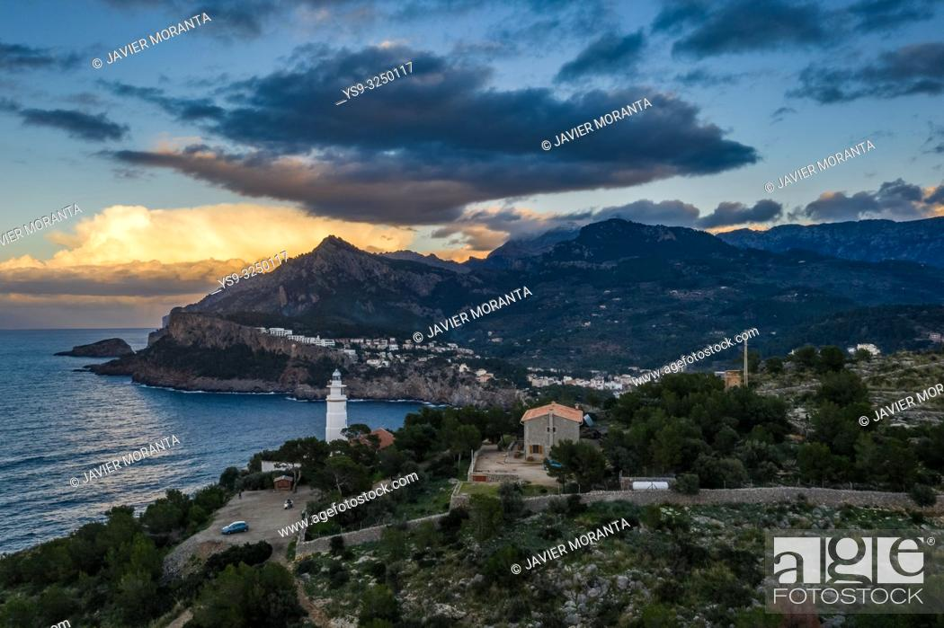 Stock Photo: Aerial photograph of the Cap Gros lighthouse at the Port of Soller, Mallorca, Balearic Islands, Spain.