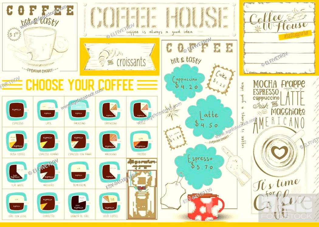 Vector: Coffee Menu Placemat Design. Colorful Template for Coffee House and Cafeteria. Retro Style Table Mat. Place for Text. Vector Illustration.