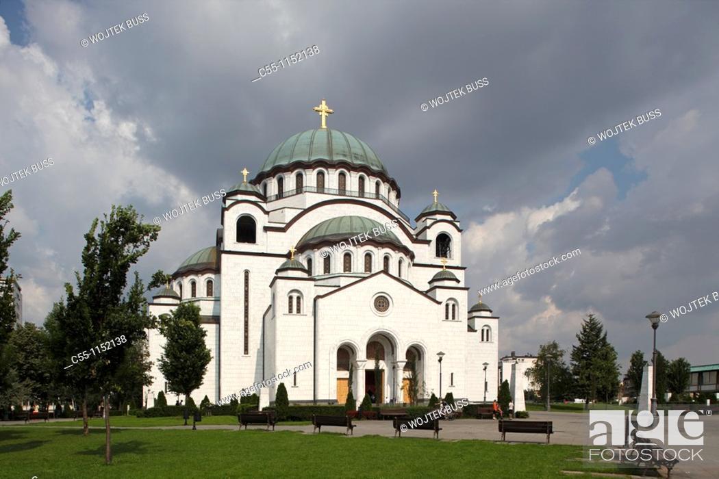 Stock Photo: Serbia, Beograd, Belgrade, St Sava Cathedral, 1935, Orthodox, christian, religious, exterior, outside, facade, colour, cupolas.