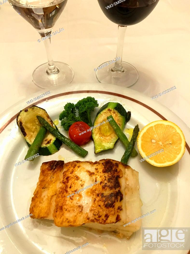 Stock Photo: Grilled hake loin with vegetables.