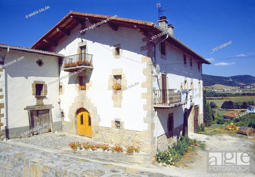 Stock Photo: Traditional house. Larrainzar, Navarra, Spain.
