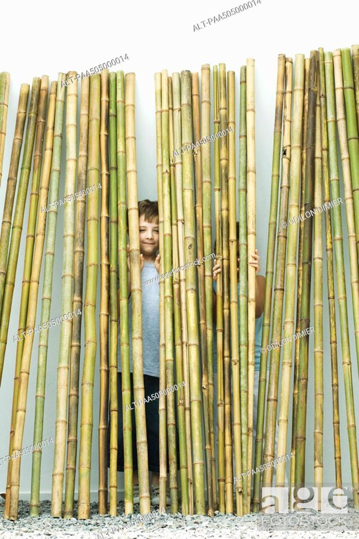 Stock Photo: Brother and sister standing behind bamboo, boy smiling at camera, girl hiding.