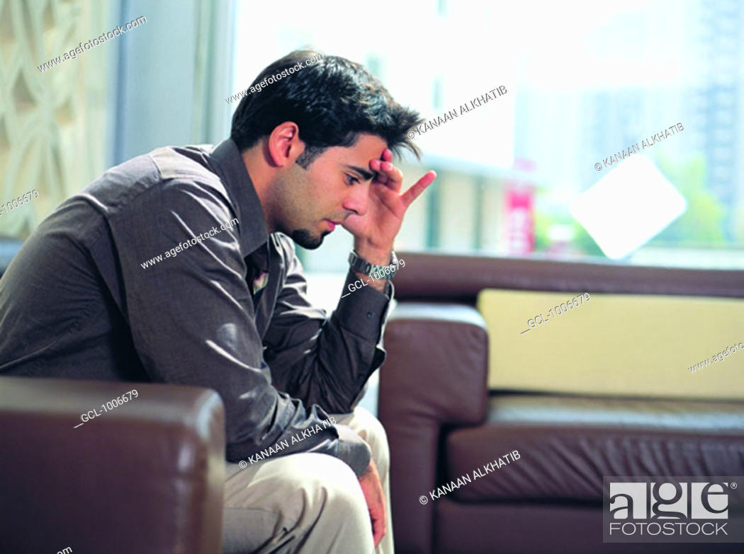Stock Photo: Thoughtful Arab businessman.