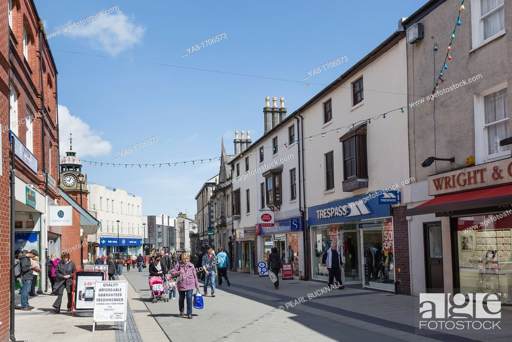 Stock Photo: High Street, Bangor, North Wales, UK, Great Britain, Europe  Street scene with people and shops in the city centre shopping precinct.