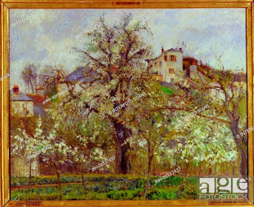 Stock Photo: Ü neg - Kunst, Pissarro, Camille 1830 - 1903 Gemälde Potager Arbres en Fleurs, Louvre, Paris, Farbnegativ landschaft, bäume, impressionismus.