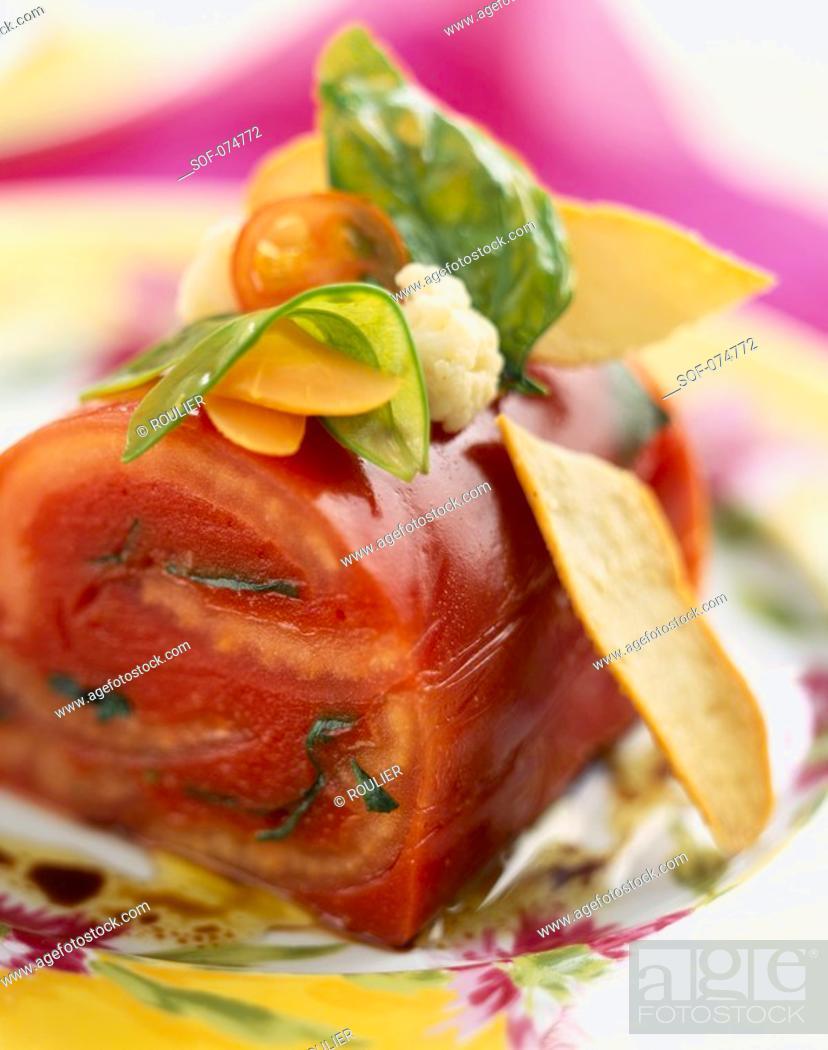 Stock Photo: chilled tomato terrine.