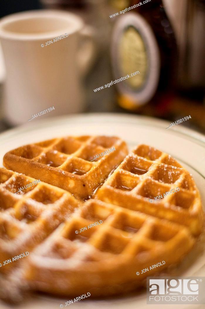 Stock Photo: Waffles for Breakfast, Manhattan, New York City, USA.