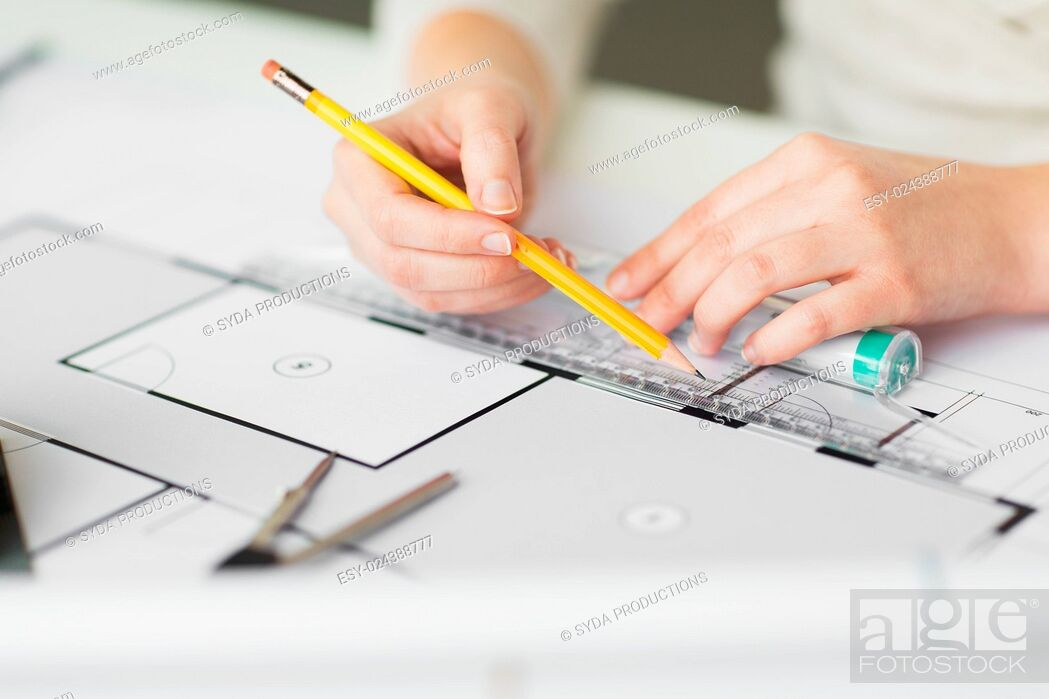 Stock Photo: business, architecture, building, construction and people concept - close up of architect hands with ruler and pencil measuring living house blueprint.