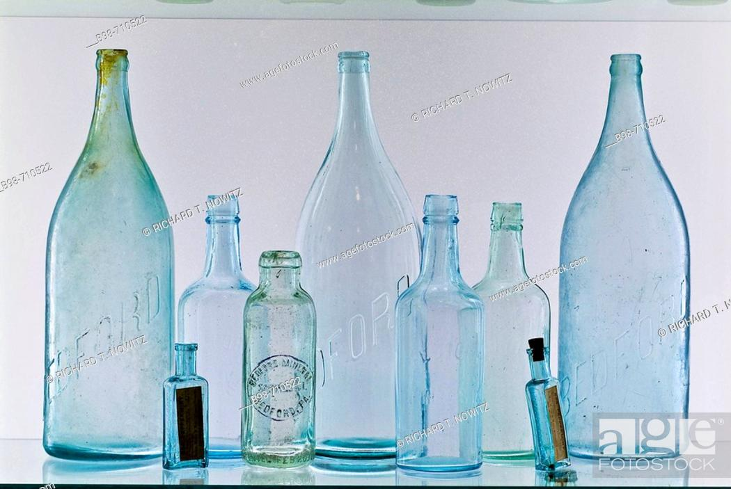 Stock Photo: Historic Bedford Springs Resort, antique glass water bottles.