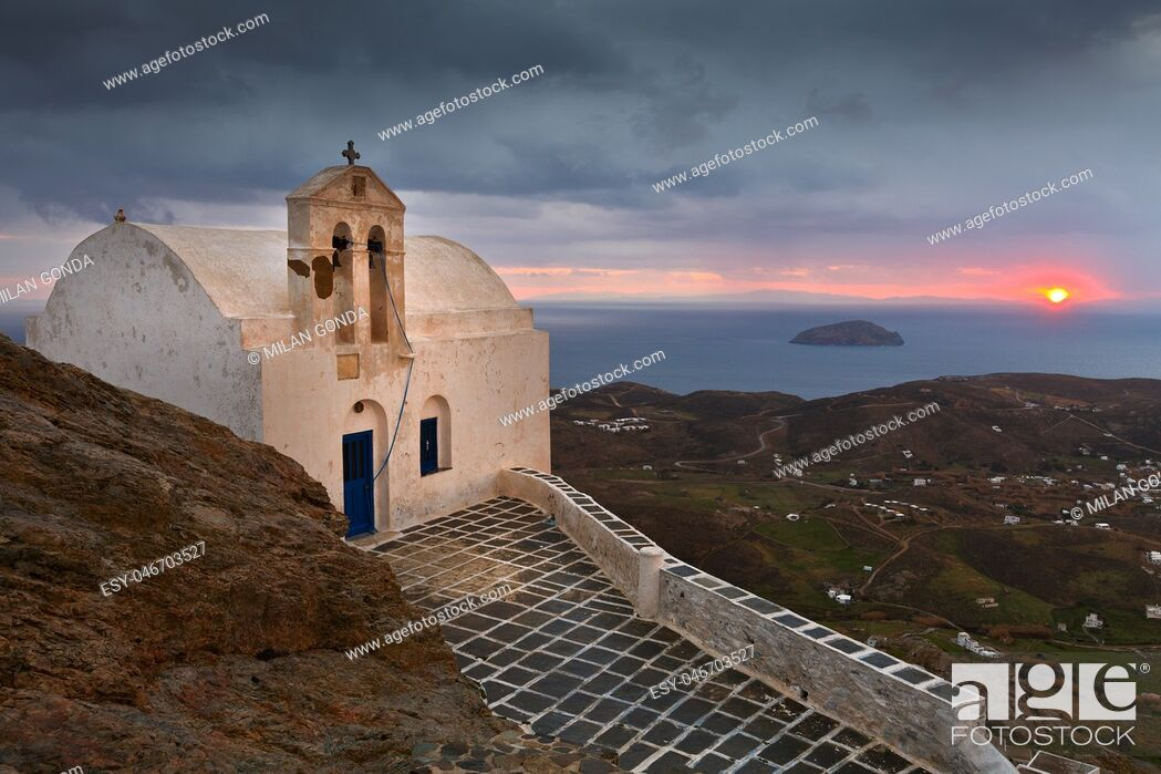 Stock Photo: View of Chora village on Serifos island in Greece. .