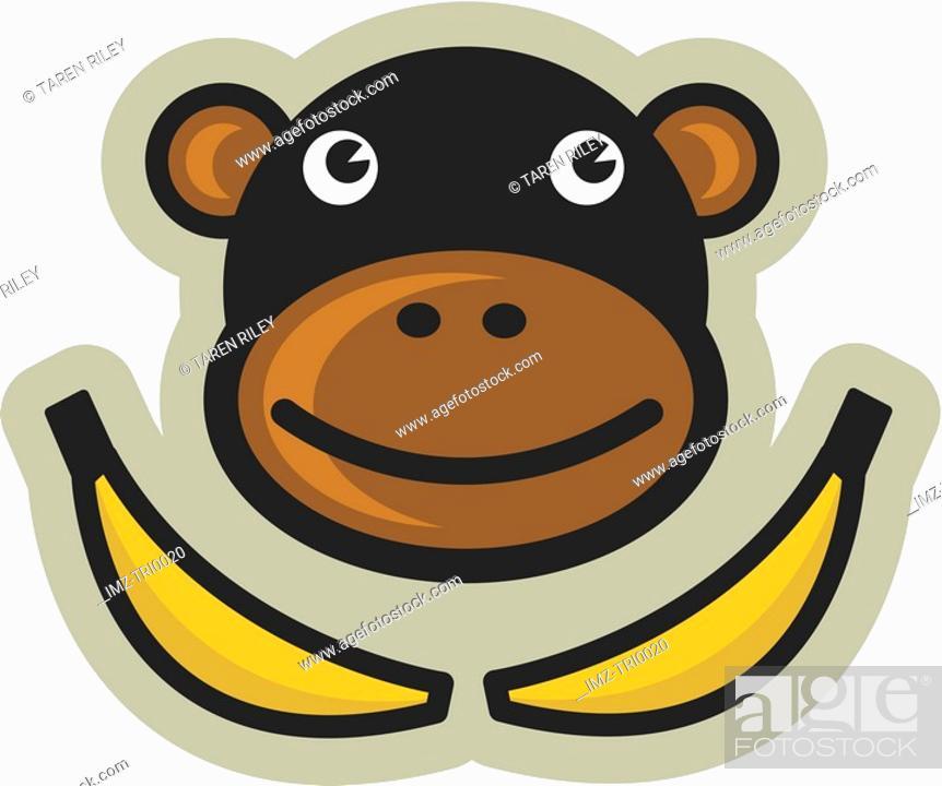 Stock Photo: Monkey and bananas.