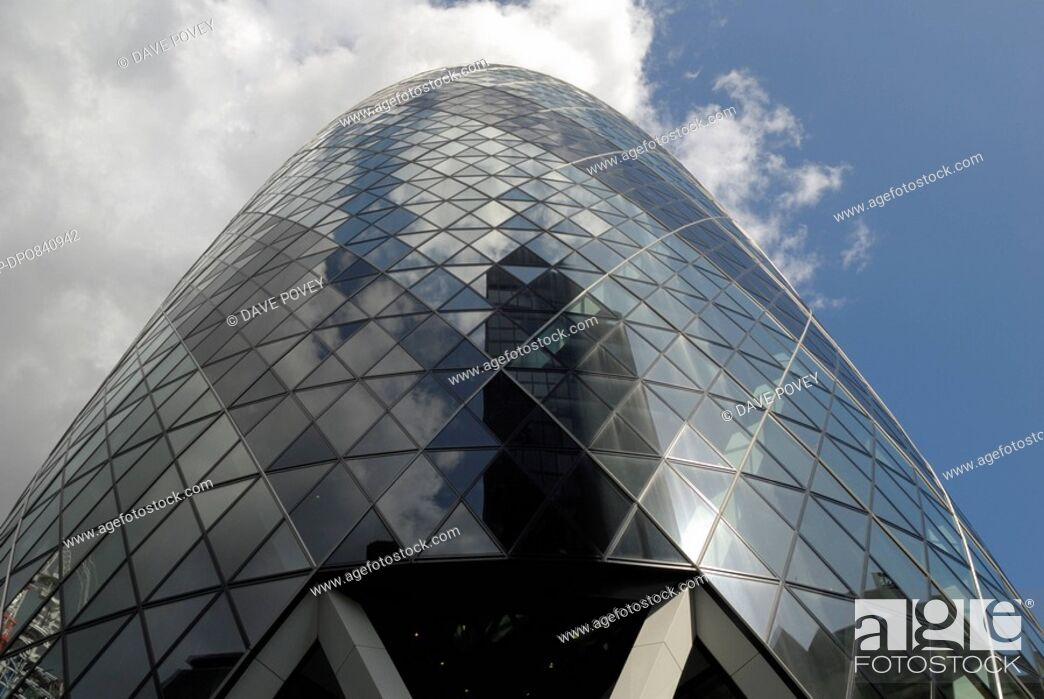 Stock Photo: England, London, City of London, View looking up at 30 St Mary Axe, also known as the Gherkin, the second tallest building in the City of London.