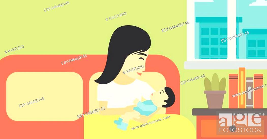 Vector: An asian mother holding newborn in maternity ward. Mother nursing baby. Mother and infant resting at hospital. Happy mother with newborn.
