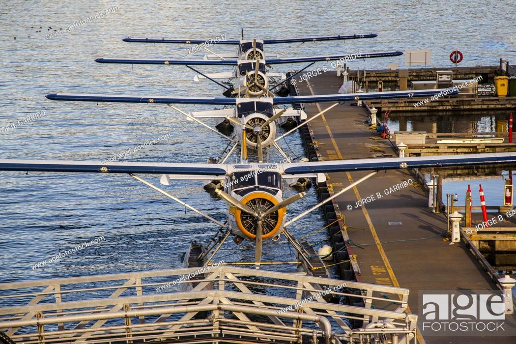Stock Photo: Canada British Columbia Vancouver Coal Harbour hydroplanes.