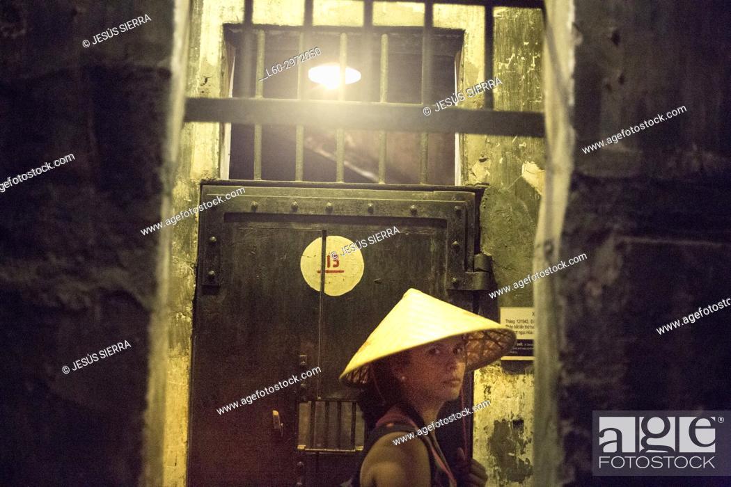 Stock Photo: Tourist in Hoa Lo Prison Museum, Hanoi.