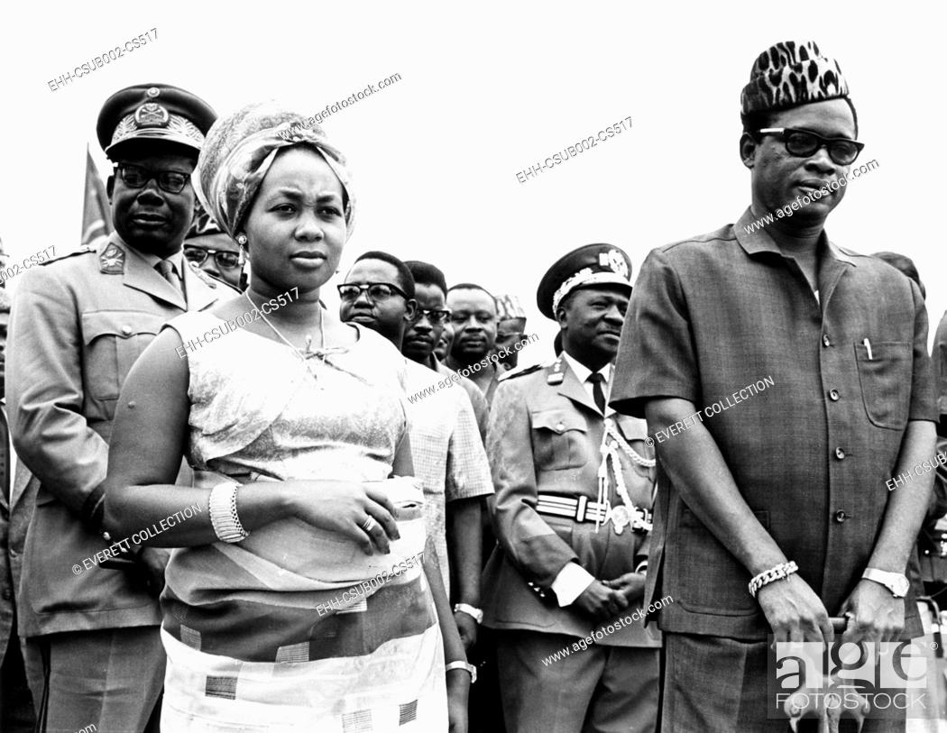 Stock Photo: President Joseph Mobutu (right) of the Congo with his wife during a ceremony at Kinshasa. Sept. 12, 1967. Mme. Marie Antoinette Mobutu launched a Congo River.