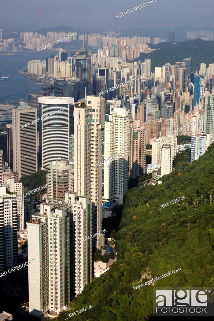 Stock Photo: Panoramic Bay of Hong Kong from Victoria Peak Tower, Victoria Peak Tower, Hong Kong, China.
