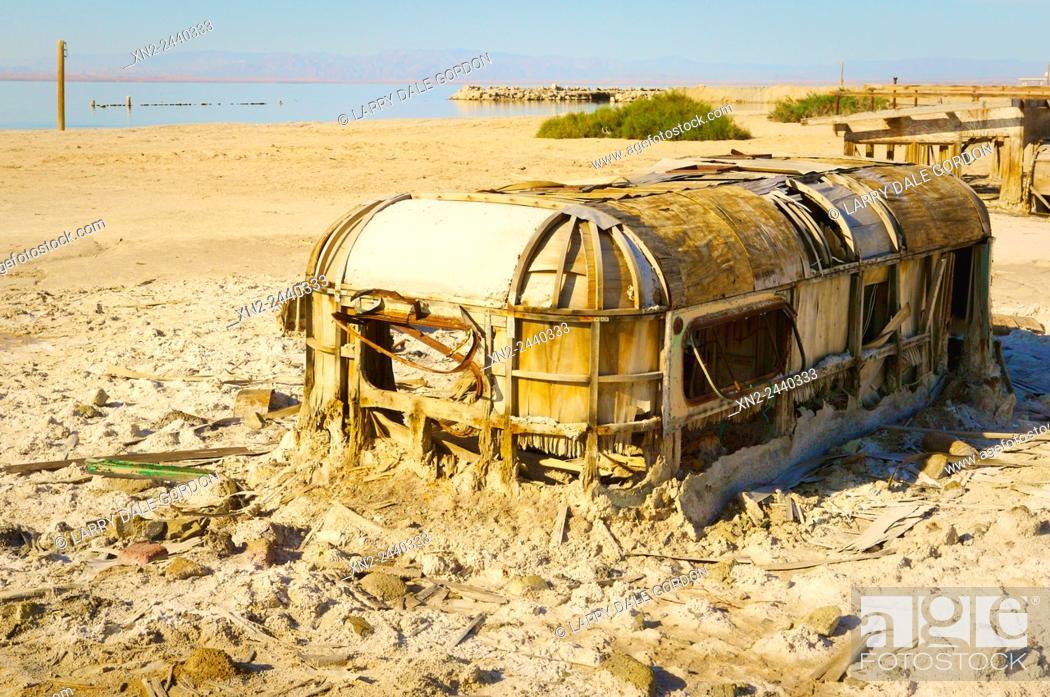 Stock Photo: Abandoned trailer near the Salton Sea. Bombay beach. California. USA.