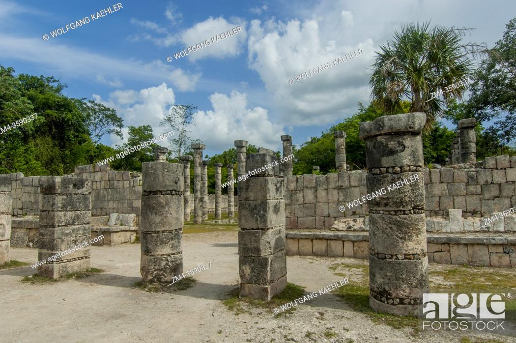 Stock Photo: The market place in the Chichen Itza Archaeological Zone (UNESCO World Heritage Site) on the Yucatan Peninsula in Mexico.