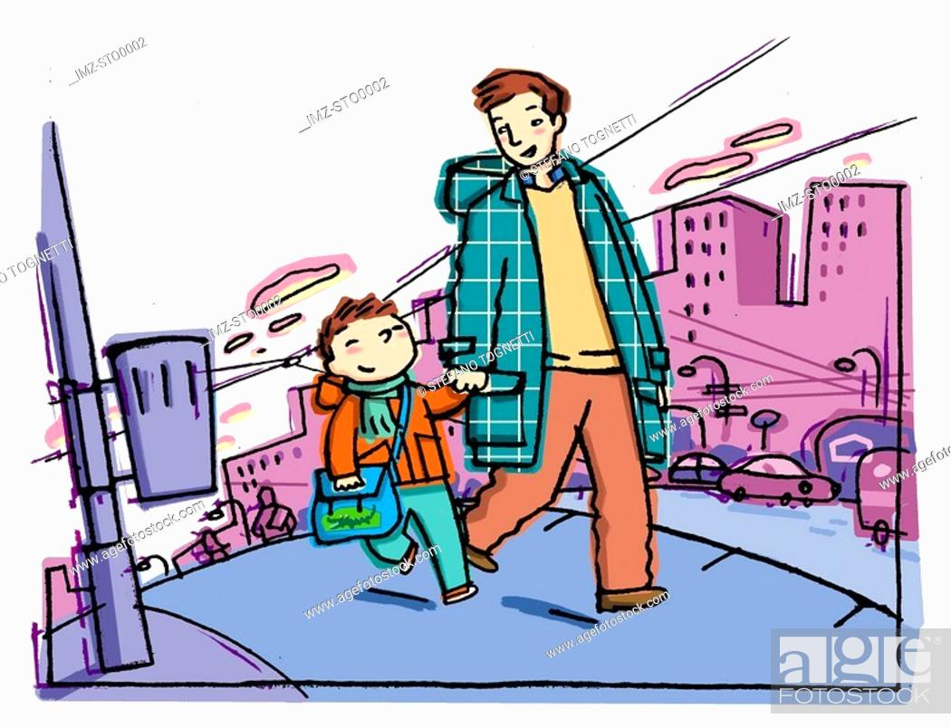 Stock Photo: A picture of a father and son walking to school.