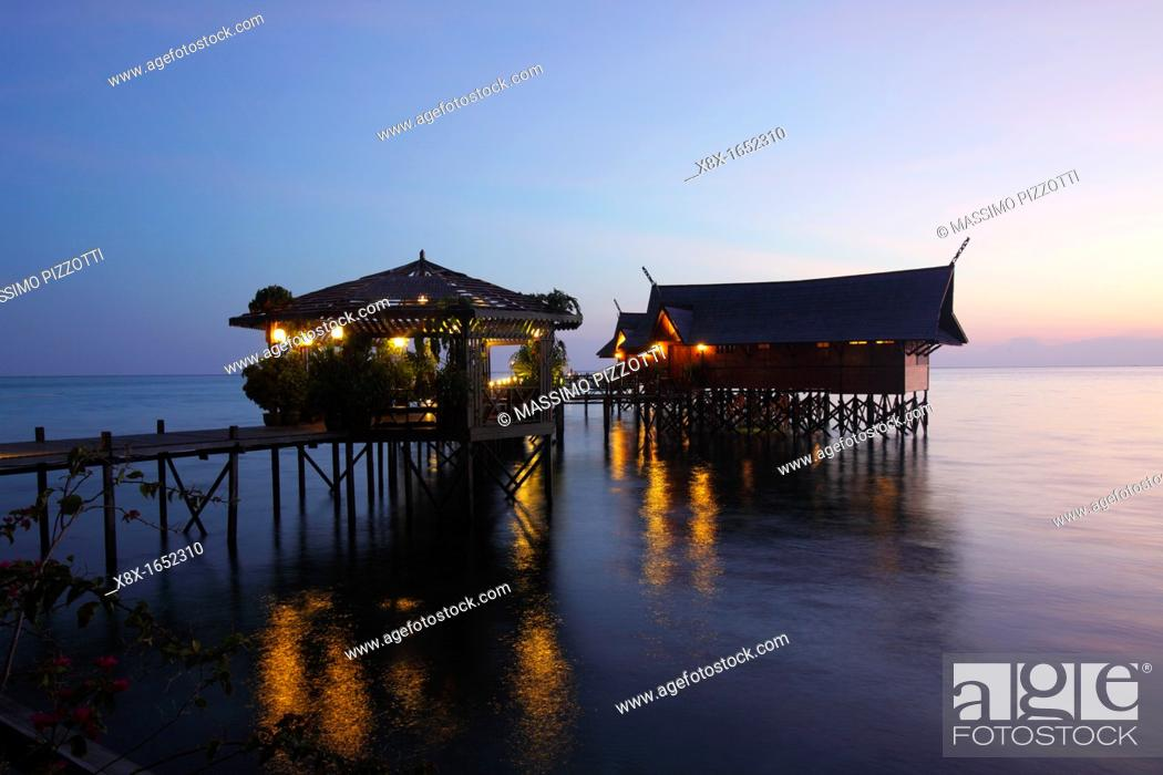 Stock Photo: Kapalai resort at Kapalai Island at sunset, Borneo, Malaysia.