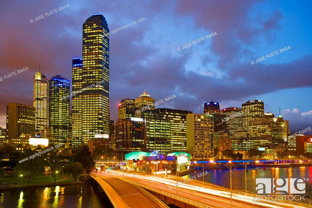 Stock Photo: Rialto Towers. Kings Bridge. Melbourne City. Victoria. Australia. April 2006.