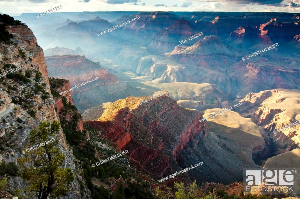 Stock Photo: Sunset near Yavapai Point, Grand Canyon National Park, South Rim, Arizona, USA.