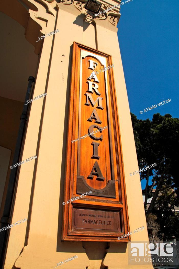 Stock Photo: Ancient pharmacy Castelo. Plaza de los Patos. Santa Cruz de Tenerife.