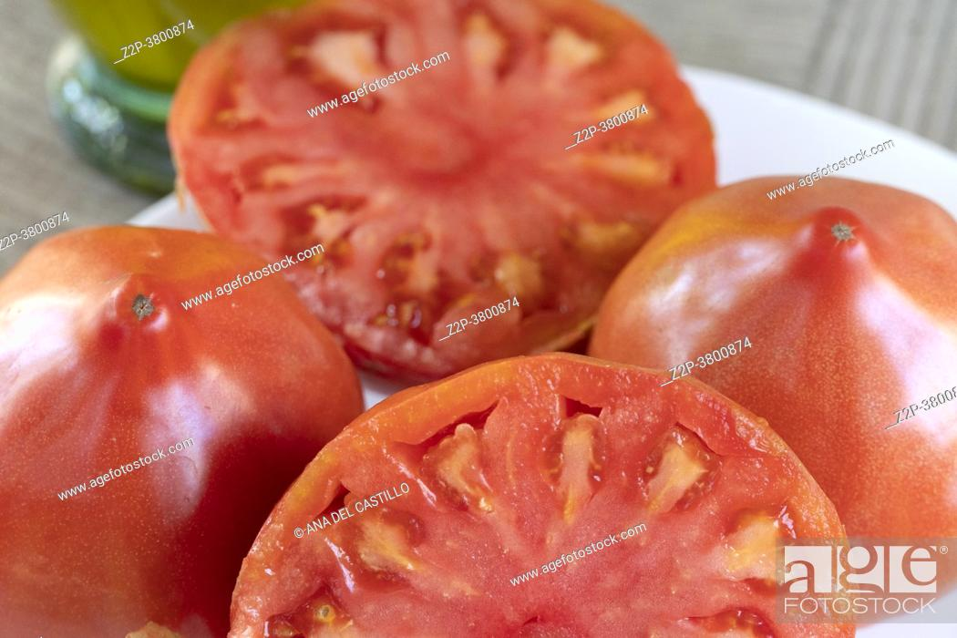 Stock Photo: Close up of fresh tomatoes from Valencia Spain.