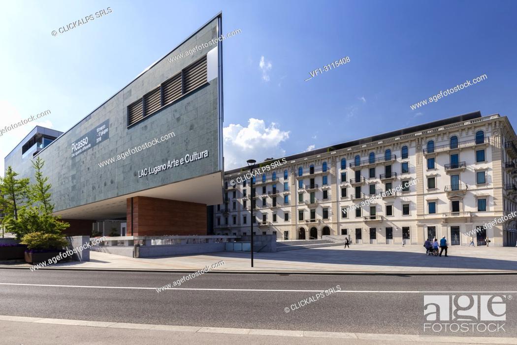 Stock Photo: View of the Lugano Arte e Cultura center in downtown Lugano on a spring day, Canton Ticino, Switzerland.