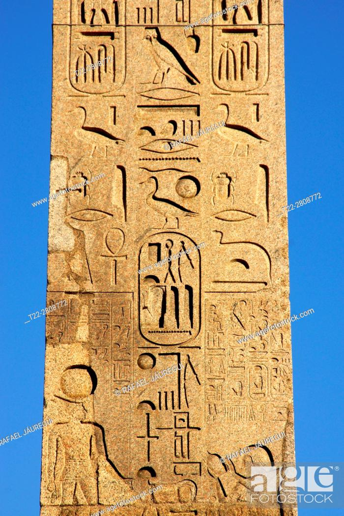 Stock Photo: Rome (Italy). Detail of the Flamenco Obelisk (Ramses II) in the Piazza del Popolo in the city of Rome.
