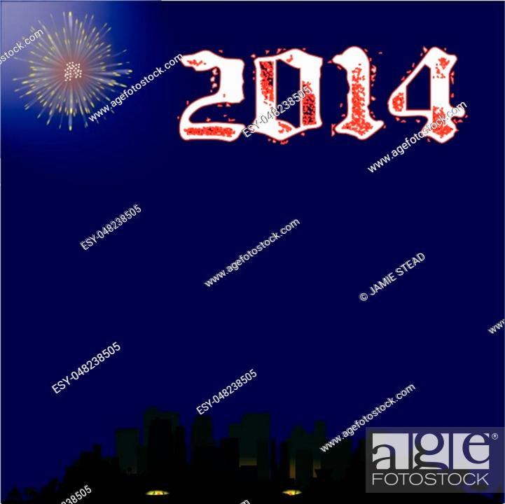Stock Vector: A single firework burst over a city with the inscription 2013. The first rocket of the evening.
