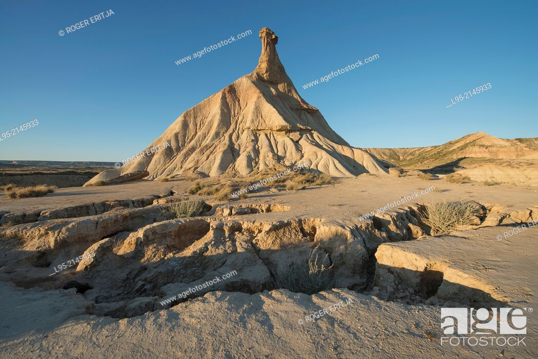 Stock Photo: Most renowned cliff eroded by rainfall, symbol of the clay-only area of the natural park of Bardenas Reales de Navarra, Navarre, Spain.