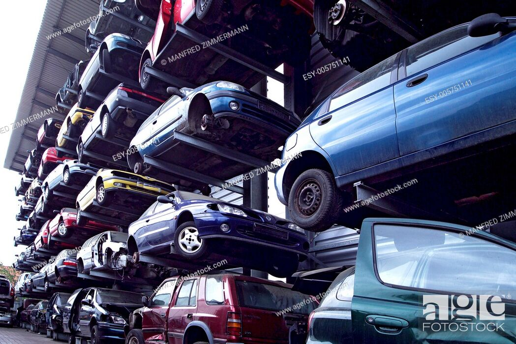 Stock Photo: Lots of disused cars, .
