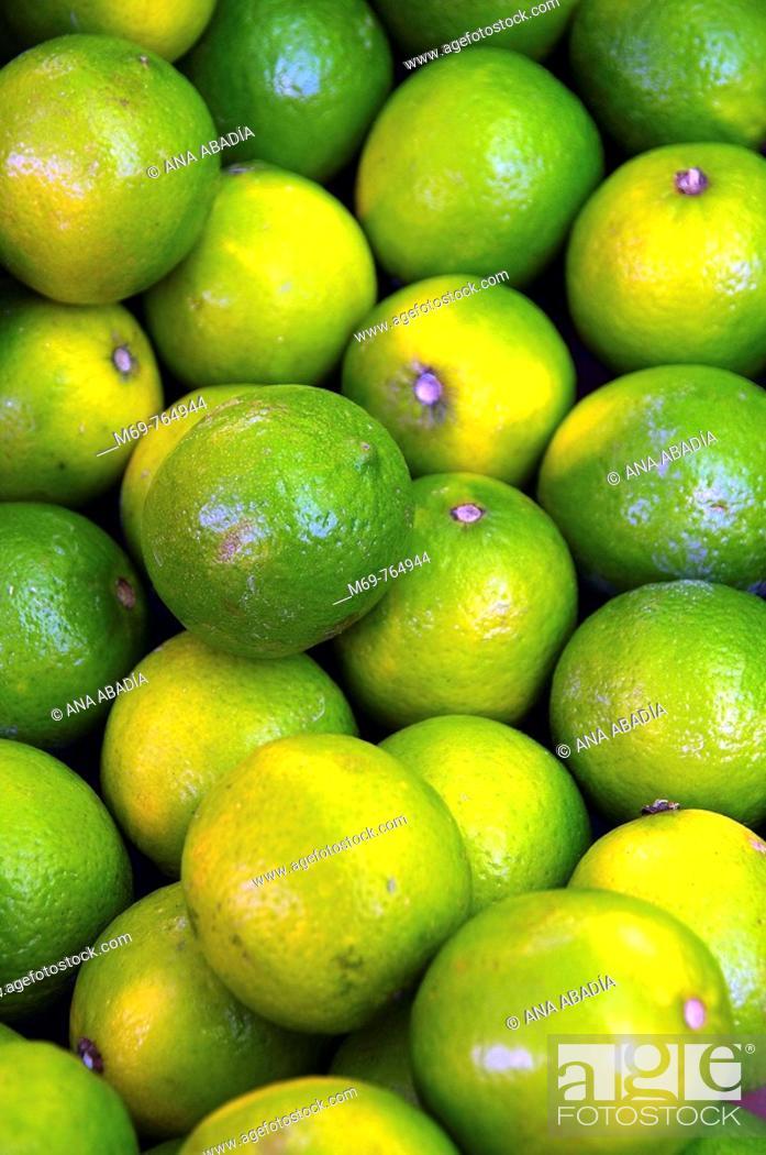 Stock Photo: Limes for sale at market, Santanyi. Majorca, Balearic Islands, Spain.