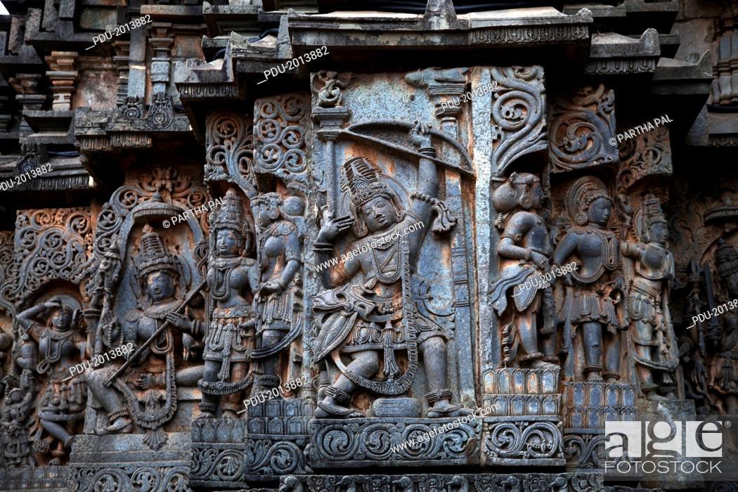 Stock Photo: The exteriors of Halebidu Temple,Karnataka.