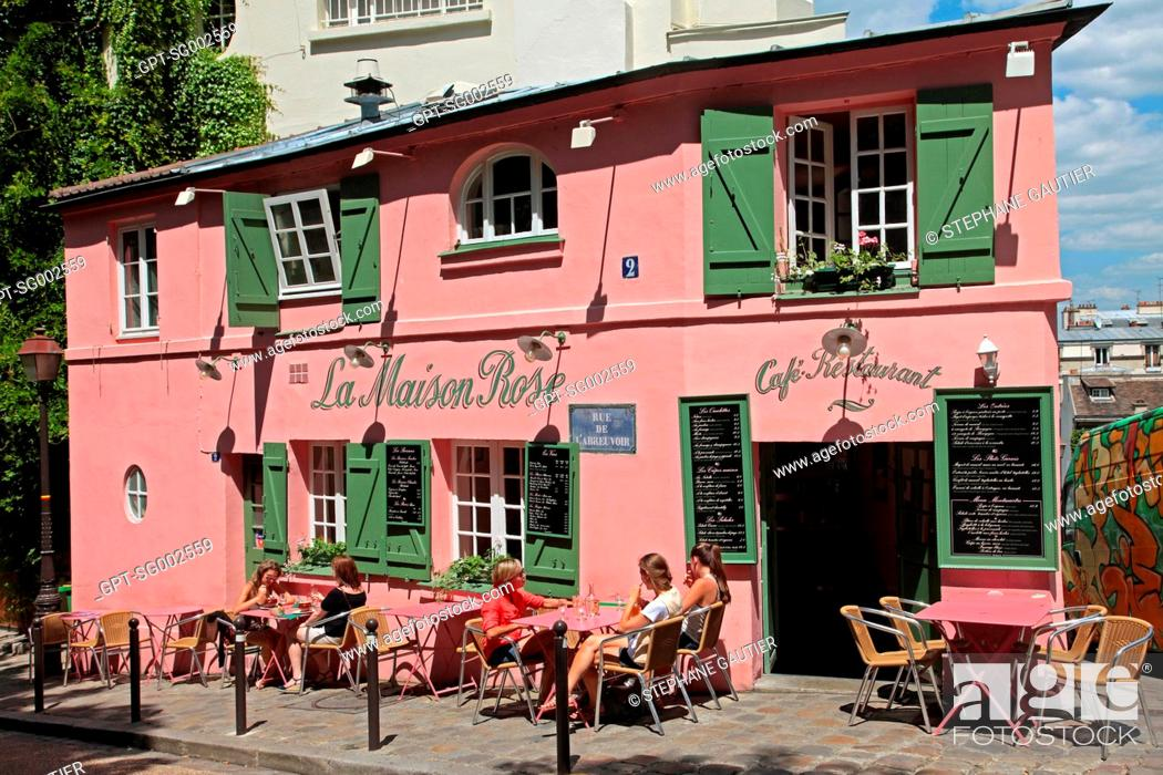 The Terrace Of The Maison Rose Cafe Restaurant On The Butte Montmartre Paris 75 France Stock Photo Picture And Rights Managed Image Pic Gpt Sg002559 Agefotostock
