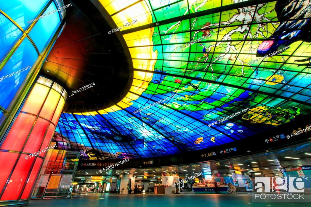 Stock Photo: The Dome of Light at Formosa Boulevard Station, the central station of Kaohsiung subway system in Kaohsiung City.